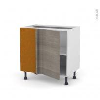 Meuble de cuisine - Angle bas réversible - STILO Noyer Naturel - 1 porte N°19 L40 cm - L80 x H70 x P58 cm