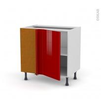 Meuble de cuisine - Angle bas - STECIA Rouge - 1 porte N°19 L40 cm - L80 x H70 x P58 cm