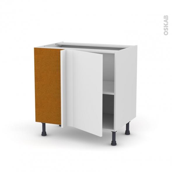 Meuble de cuisine - Angle bas - GINKO Blanc - 1 porte N°19 L40 cm - L80 x H70 x P58 cm