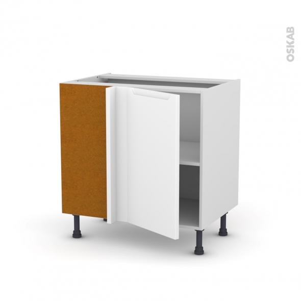 Meuble de cuisine - Angle bas réversible - PIMA Blanc - 1 porte N°19 L40 cm - L80 x H70 x P58 cm