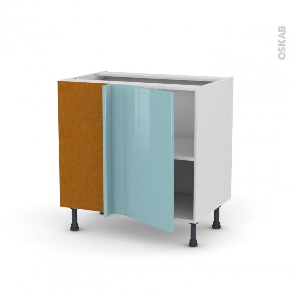 Meuble de cuisine - Angle bas réversible - KERIA Bleu - 1 porte N°19 L40 cm - L80 x H70 x P58 cm