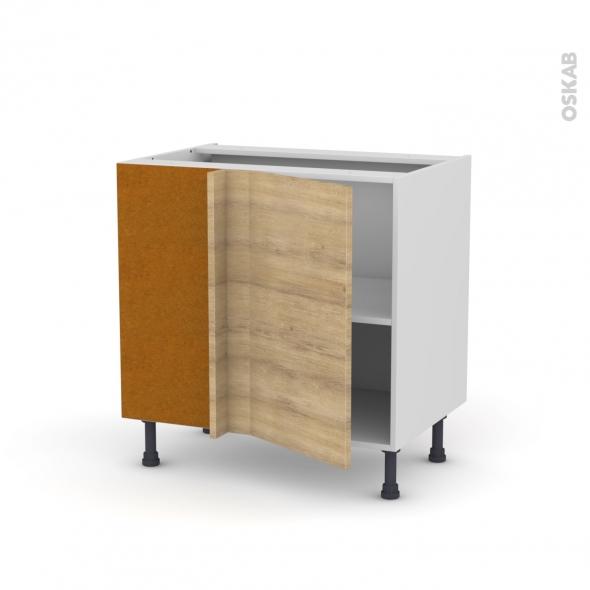 Meuble de cuisine - Angle bas - HOSTA Chêne naturel - 1 porte N°19 L40 cm - L80 x H70 x P58 cm
