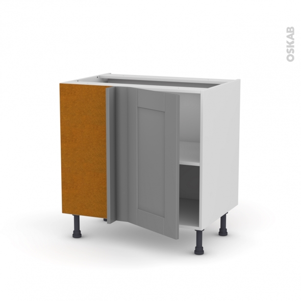 Meuble de cuisine - Angle bas réversible - FILIPEN Gris - 1 porte N°19 L40 cm - L80 x H70 x P58 cm