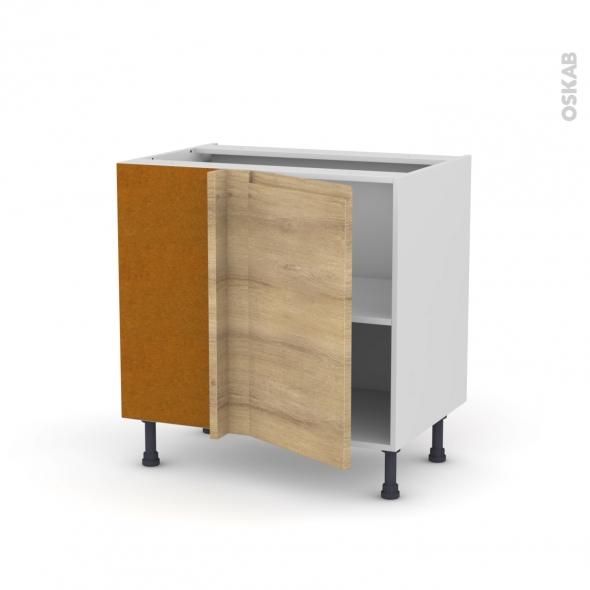 Meuble de cuisine - Angle bas réversible - IPOMA Chêne naturel - 1 porte N°19 L40 cm - L80 x H70 x P58 cm