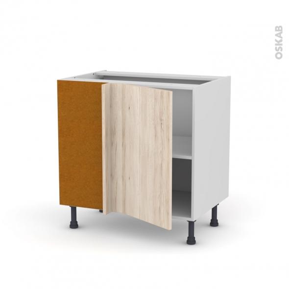 Meuble de cuisine - Angle bas réversible - IKORO Chêne clair - 1 porte N°19 L40 cm - L80 x H70 x P58 cm
