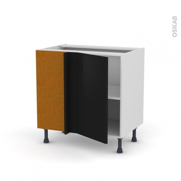 Meuble de cuisine - Angle bas - GINKO Noir - 1 porte N°19 L40 cm - L80 x H70 x P58 cm