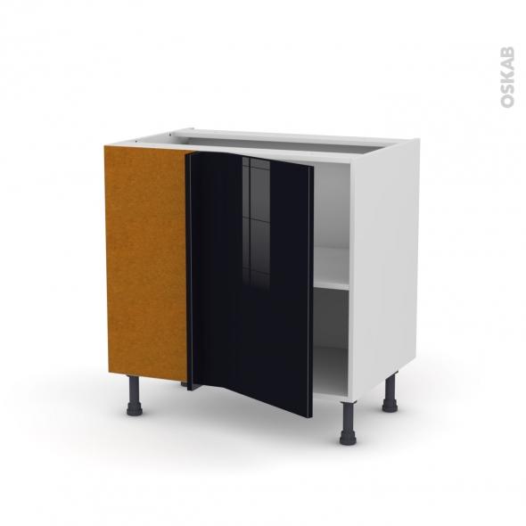 Meuble de cuisine - Angle sous évier réversible - KERIA Noir - 1 porte N°19 L40 cm - L80 x H70 x P58 cm