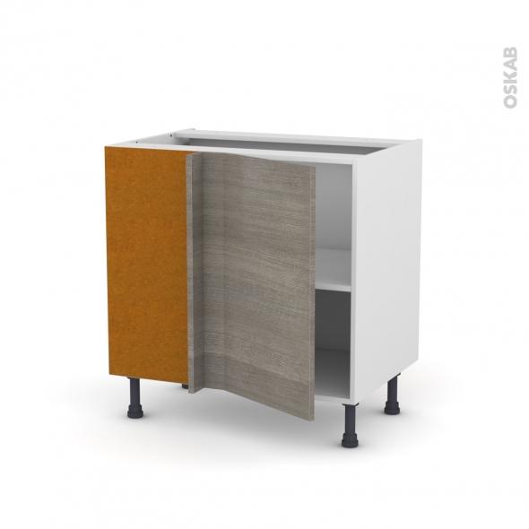 Meuble de cuisine - Angle bas - STILO Noyer Naturel - 1 porte N°19 L40 cm - L80 x H70 x P58 cm