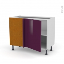 Meuble de cuisine - Angle bas réversible - KERIA Aubergine - 1 porte N°20 L50 cm - L100 x H70 x P58 cm