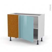 Meuble de cuisine - Angle bas réversible - KERIA Bleu - 1 porte N°20 L50 cm - L100 x H70 x P58 cm