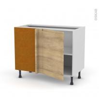 Meuble de cuisine - Angle bas réversible - IPOMA Chêne naturel - 1 porte N°20 L50 cm - L100 x H70 x P58 cm