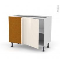 Meuble de cuisine - Angle bas réversible - KERIA Ivoire - 1 porte N°20 L50 cm - L100 x H70 x P58 cm