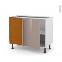Meuble de cuisine - Angle bas réversible - KERIA Moka - 1 porte N°20 L50 cm - L100 x H70 x P58 cm