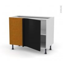 Meuble de cuisine - Angle bas réversible - GINKO Noir - 1 porte N°20 L50 cm - L100 x H70 x P58 cm