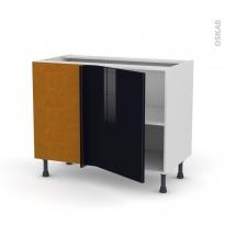 Meuble de cuisine - Angle bas - KERIA Noir - 1 porte N°20 L50 cm - L100 x H70 x P58 cm