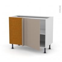 Meuble de cuisine - Angle bas réversible - GINKO Taupe - 1 porte N°20 L50 cm - L100 x H70 x P58 cm