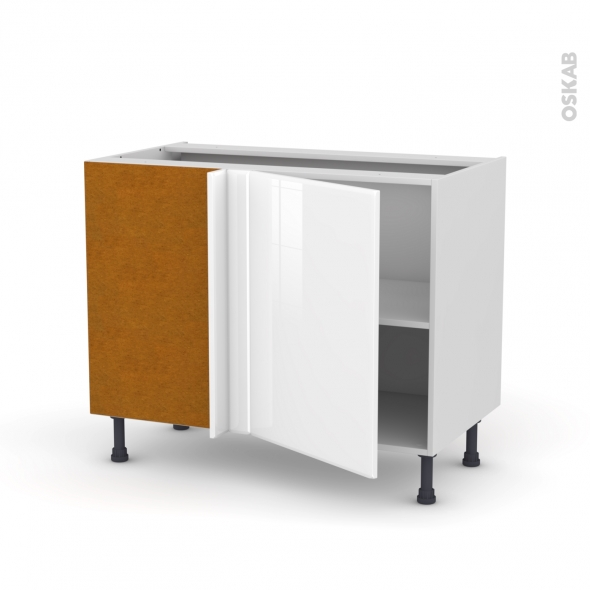 Meuble de cuisine - Angle bas réversible - IRIS Blanc - 1 porte N°20 L50 cm - L100 x H70 x P58 cm