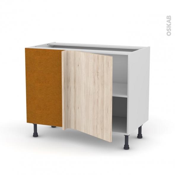 Meuble de cuisine - Angle bas réversible - IKORO Chêne clair - 1 porte N°20 L50 cm - L100 x H70 x P58 cm