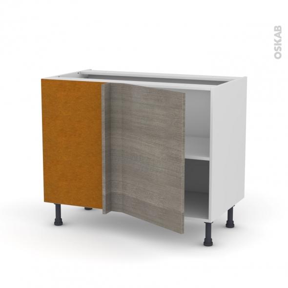 Meuble de cuisine - Angle bas réversible - STILO Noyer Naturel - 1 porte N°20 L50 cm - L100 x H70 x P58 cm