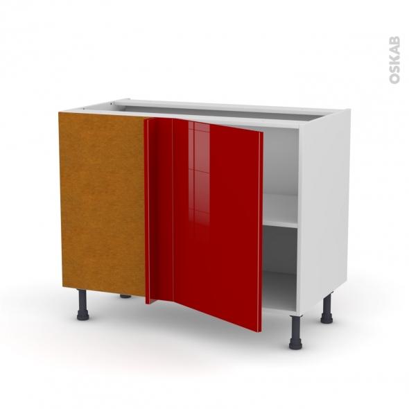 Meuble de cuisine - Angle bas réversible - STECIA Rouge - 1 porte N°20 L50 cm - L100 x H70 x P58 cm