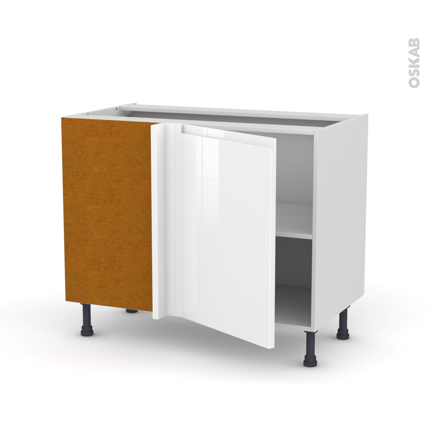 Difference Blanc Brillant Et Blanc Laqué meuble de cuisine angle bas réversible ipoma blanc brillant, 1 porte n°20  l50 cm, l100 x h70 x p58 cm