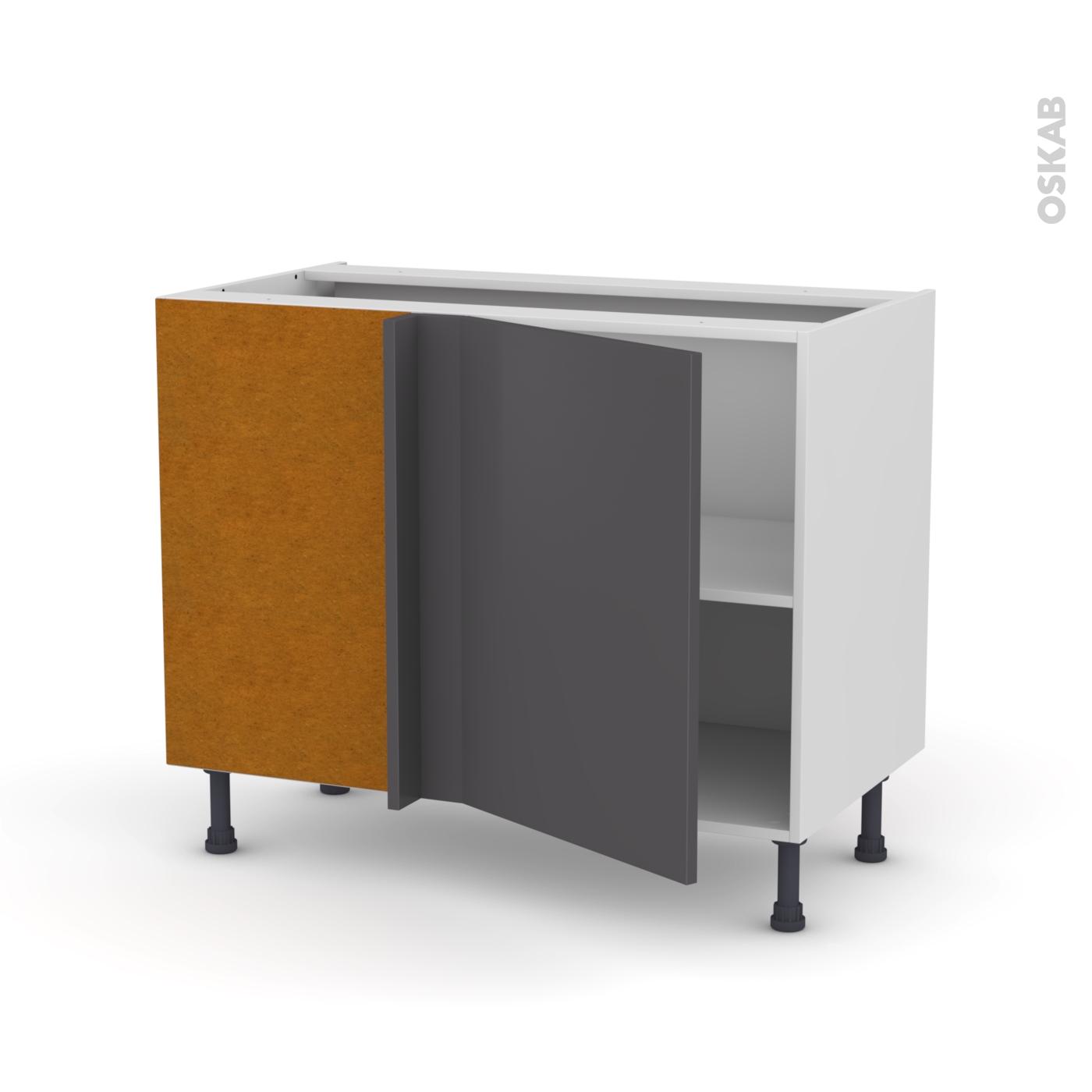 Meuble de cuisine Angle bas réversible GINKO Gris, 10 porte N°10 L10 cm,  L100 x H10 x P10 cm
