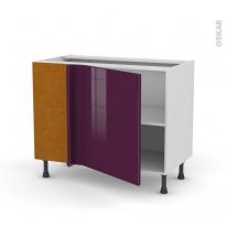 Meuble de cuisine - Angle bas réversible - KERIA Aubergine - 1 porte N°21 L60 cm - L100 x H70 x P58 cm