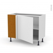 Meuble de cuisine - Angle bas réversible - GINKO Blanc - 1 porte N°21 L60 cm - L100 x H70 x P58 cm