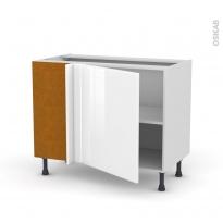 Meuble de cuisine - Angle bas réversible - IRIS Blanc - 1 porte N°21 L60 cm - L100 x H70 x P58 cm