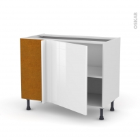 Meuble de cuisine - Angle bas - STECIA Blanc - 1 porte N°21 L60 cm - L100 x H70 x P58 cm
