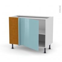 Meuble de cuisine - Angle bas réversible - KERIA Bleu - 1 porte N°21 L60 cm - L100 x H70 x P58 cm