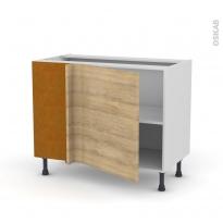 Meuble de cuisine - Angle bas réversible - HOSTA Chêne naturel - 1 porte N°21 L60 cm - L100 x H70 x P58 cm