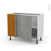 Meuble de cuisine - Angle bas - FAKTO Béton - 1 porte N°21 L60 cm - L100 x H70 x P58 cm