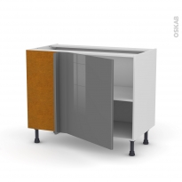 Meuble de cuisine - Angle bas - STECIA Gris - 1 porte N°21 L60 cm - L100 x H70 x P58 cm