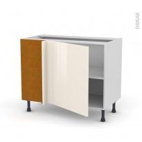 Meuble de cuisine - Angle bas réversible - KERIA Ivoire - 1 porte N°21 L60 cm - L100 x H70 x P58 cm