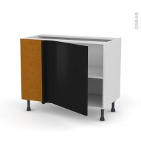Meuble de cuisine - Angle bas réversible - GINKO Noir - 1 porte N°21 L60 cm - L100 x H70 x P58 cm