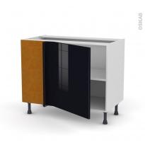 Meuble de cuisine - Angle bas - KERIA Noir - 1 porte N°21 L60 cm - L100 x H70 x P58 cm