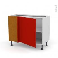 GINKO Rouge - Meuble angle bas  - 1 porte N°21 L60 - L100xH70xP58