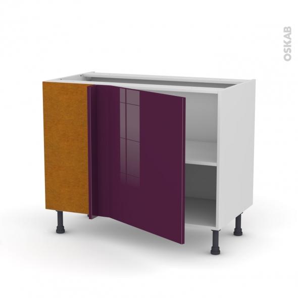 Meuble de cuisine - Angle bas - KERIA Aubergine - 1 porte N°21 L60 cm - L100 x H70 x P58 cm