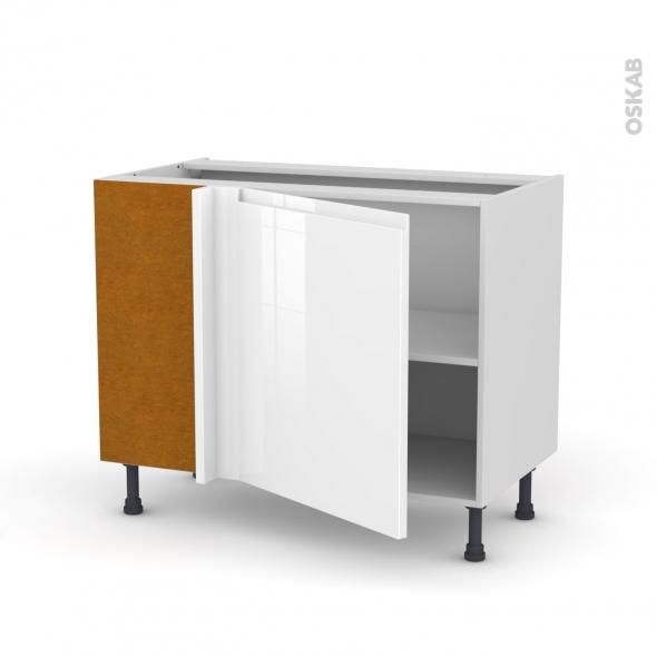 Meuble de cuisine - Angle bas - IPOMA Blanc - 1 porte N°21 L60 cm - L100 x H70 x P58 cm