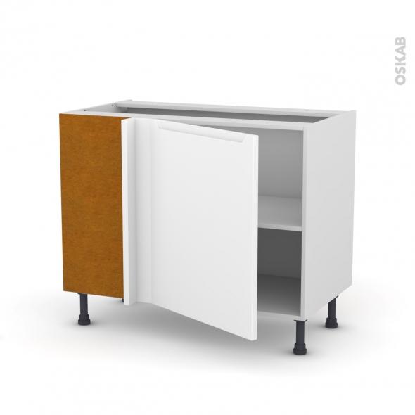 Meuble de cuisine - Angle bas - PIMA Blanc - 1 porte N°21 L60 cm - L100 x H70 x P58 cm