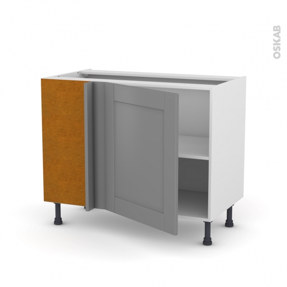 Meuble de cuisine - Angle bas réversible - FILIPEN Gris - 1 porte N°21 L60 cm - L100 x H70 x P58 cm