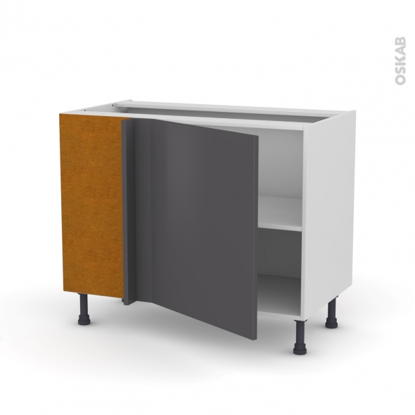 Meuble de cuisine - Angle bas réversible - GINKO Gris - 1 porte N°21 L60 cm - L100 x H70 x P58 cm
