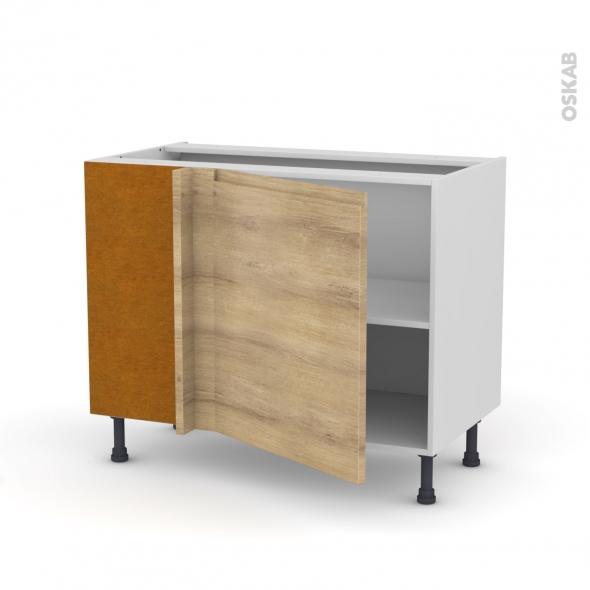 Meuble de cuisine - Angle bas - IPOMA Chêne naturel - 1 porte N°21 L60 cm - L100 x H70 x P58 cm