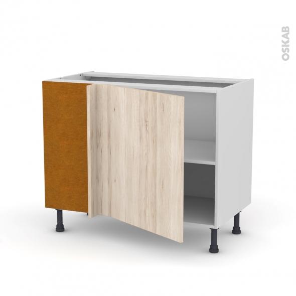 Meuble de cuisine - Angle bas réversible - IKORO Chêne clair - 1 porte N°21 L60 cm - L100 x H70 x P58 cm