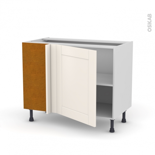 Meuble de cuisine - Angle bas réversible - FILIPEN Ivoire - 1 porte N°21 L60 cm - L100 x H70 x P58 cm