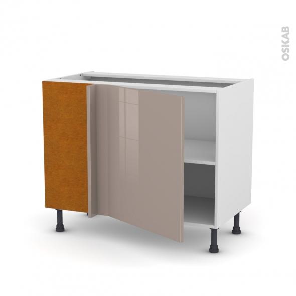Meuble de cuisine - Angle bas réversible - KERIA Moka - 1 porte N°21 L60 cm - L100 x H70 x P58 cm