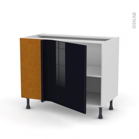 Meuble de cuisine - Angle bas réversible - KERIA Noir - 1 porte N°21 L60 cm - L100 x H70 x P58 cm