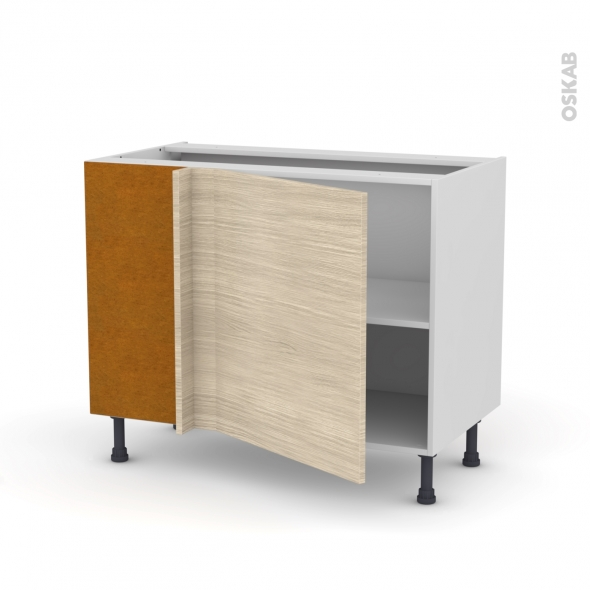 Meuble de cuisine - Angle bas réversible - STILO Noyer Blanchi - 1 porte N°21 L60 cm - L100 x H70 x P58 cm
