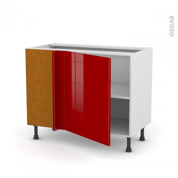 Meuble de cuisine - Angle bas - STECIA Rouge - 1 porte N°21 L60 cm - L100 x H70 x P58 cm